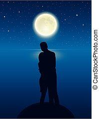 entiers, couple, étoilé, nuit, lac, lune