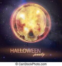entiers, crâne, ciel, halloween, illustration, lune, arrière-plan., vecteur, conception, aviateur, nuit, fête