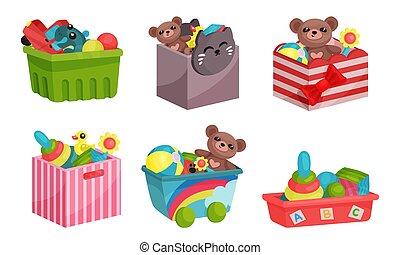 entiers, enfants, vecteur, illustré, boîtes, set., jouets