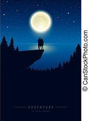 entiers, falaise, nuit, lune, lac, étoilé, couple