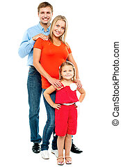 entiers, famille, longueur, portrait, adorable, caucasien
