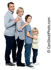 entiers, famille, quatre, longueur, membres, portrait