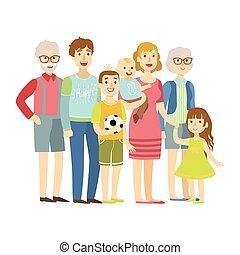 entiers, familles, famille, grands-parents, deux, illustration, série, heureux, gosses, parents, aimer