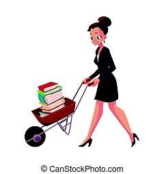 entiers, femme affaires, pousser, girl, livres, brouette, femme, heureux