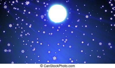 entiers, flocon, neige, bas, automne, lune