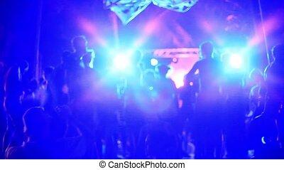 entiers, gens, danse, plage, lights., brouillé, bokeh, sablonneux, fond, pendant, lune, partie., 1920x1080, foules