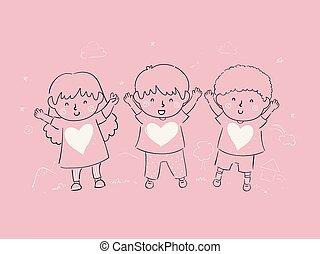 entiers, gosses, illustration, amour, élévation, enfant