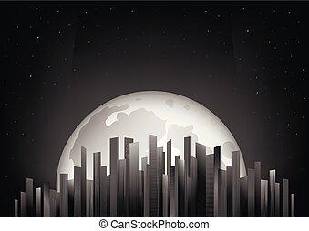 entiers, gratte-ciel, illustration, lune, vecteur, arrière-plan noir, nuit, horizontal, ciel blanc