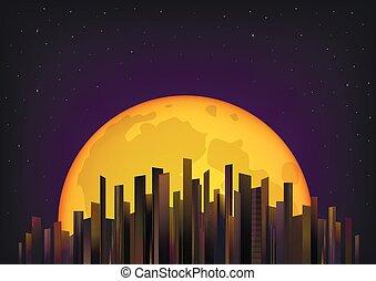 entiers, gratte-ciel, illustration, lune, vecteur, fond, nuit, horizontal, ciel