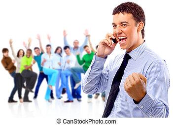 entiers, groupe, business, foule, gens, isolé, longueur, stand, fond, équipe, blanc