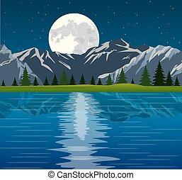 entiers, groupe, reflété, arbres, lune