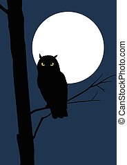 entiers, hibou, lune