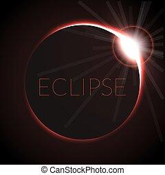 entiers, illustration., soleil, éclipse, space., vecteur, profond, solaire, eclipce., anneau