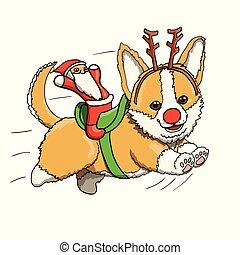 entiers, jouet, caractère, renne, illustration, courant, speed., santa, corgi, sourire, chiot, dessin animé