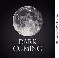 entiers, moon., illustration, sombre, vecteur, venir