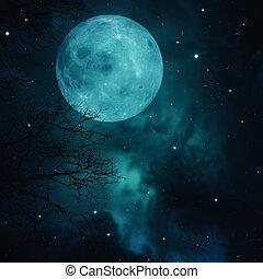entiers, naturel, résumé, arrière-plans, lune, cieux