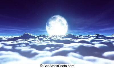entiers, nuages, 4k, rêves, lune