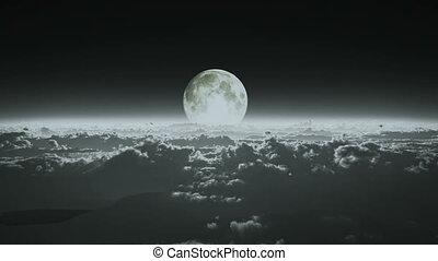 entiers, nuages, au-dessus, lune