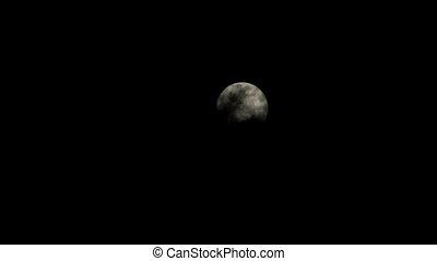 entiers, nuages, obscurci, lune
