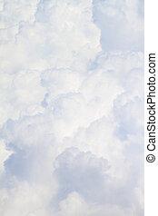 entiers, nuages, pelucheux, haut, fond, fin, blanc, taille