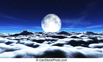 entiers, nuages, rêves, lune
