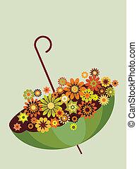 entiers, parapluie, gris, automne, flowers., arrière-plan vert, -2