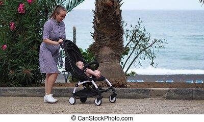entiers, parc, jeune regarder, longueur, femme, voiture...