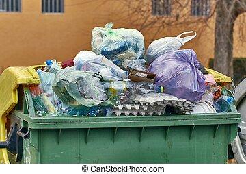 entiers, récipient, déchets