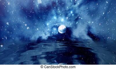 entiers, reflet, lune, neiger, eau, sur