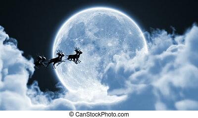 entiers, renne, entre, claus, nuages, lune, voler, beau, traîneau, 3d, fond, hd, animation, santa
