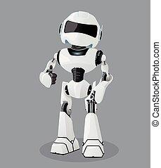 entiers, robot, illustration, robot., réaliste, vecteur, blanc, enthusiasm.