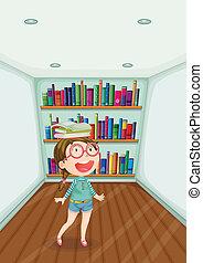 entiers, salle, mode, intérieur, jeune, livres, girl