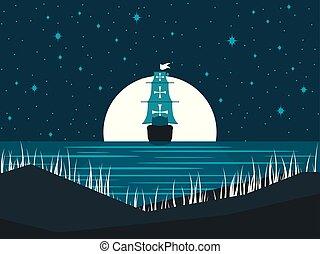 entiers, seascape., voile, moon., nuit, illustration, clair lune, vecteur, contre, water., bateau