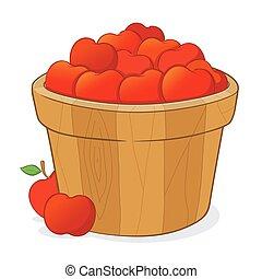 entiers, seau, pommes, rouges