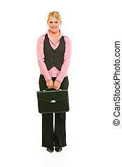 entiers, serviette, business, moderne, longueur, portrait femme