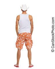 entiers, shorts., vacances, longueur, portrait, homme, vue postérieure