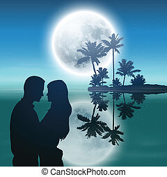 entiers, silhouette, île, arbres, couple., lune, paume, mer, night.