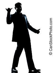 entiers, silhouette, longueur, saluer, homme, heureux