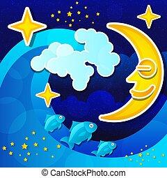 entiers, sky., étoilé, nuit, lune, vecteur, marine