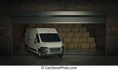 entiers, soi, stockage, rendre, boîtes, carton, truck., ouvert, unité, 3d