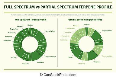 entiers, spectre, profil, terpene, infographic, partiel, vs,...