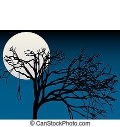 entiers, spooky, tre, lune, nu, souligner