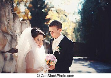 entiers, stands, soleil, palefrenier, mariée, derrière, arrière-cour, sourire