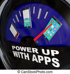 entiers, téléphone, apps, applications, jauge, carburant, intelligent