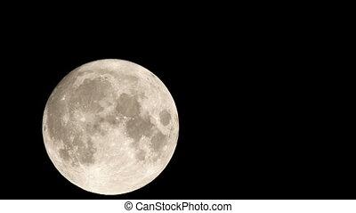 entiers, travers, ciel, mouvements, -, lune, 4k, nuit