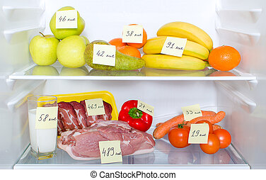entiers, viande, légumes, calories, frigidaire, marqué,...