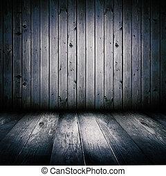 entiers, vieux, éclairé, bois, moon., intérieur, hangar