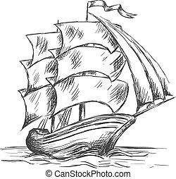 entiers, vieux, eau océan, sous, bateau, voiles