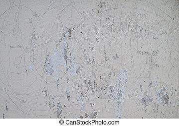 entiers, vieux, peint, ciment, mur, dessin, gosse