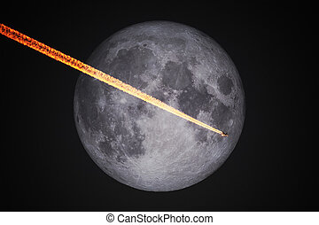 entiers, vol, ciel, lune, avion, nuit, devant